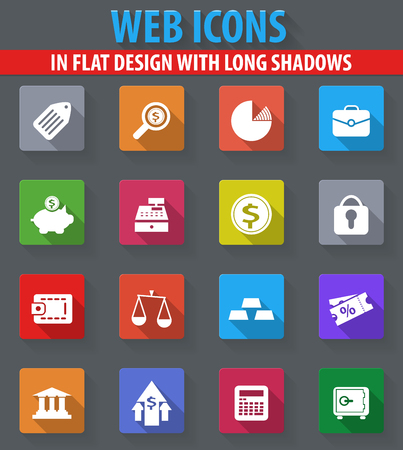 finance web icons in flat design with long shadows