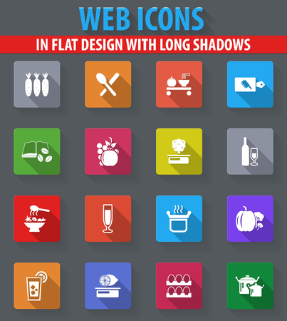 Des icônes Web de cuisine et de cuisine en conception plate avec de longues ombres