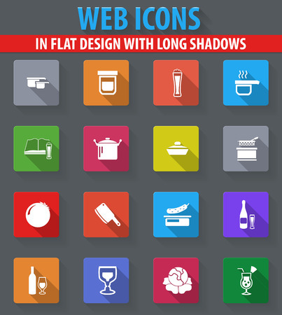 Food and kitchen web icons in flat design with long shadows