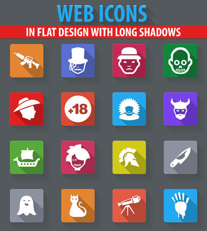 Set of movie genres web icons in flat design with long shadows