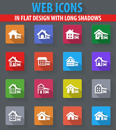 guest house: house type web icons in flat design with long shadows Illustration