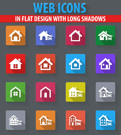 house type web icons in flat design with long shadows Illustration