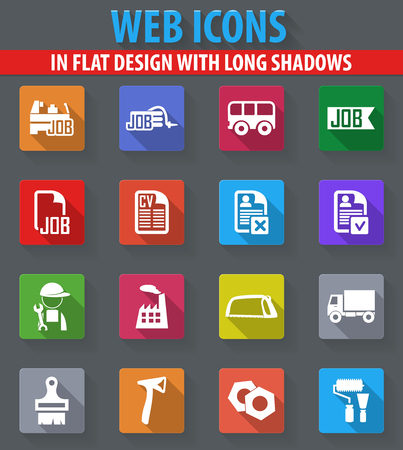 Job web icons in flat design with long shadows