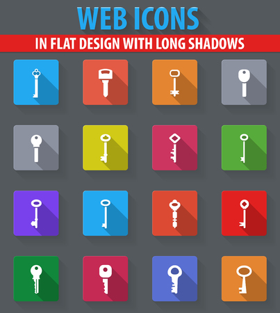 oldish: Lock and Key web icons in flat design with long shadows