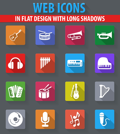 darbuka: Music web icons in flat design with long shadows