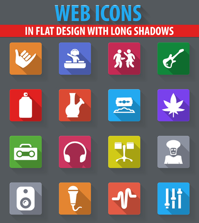 Reggae web icons in flat design with long shadows