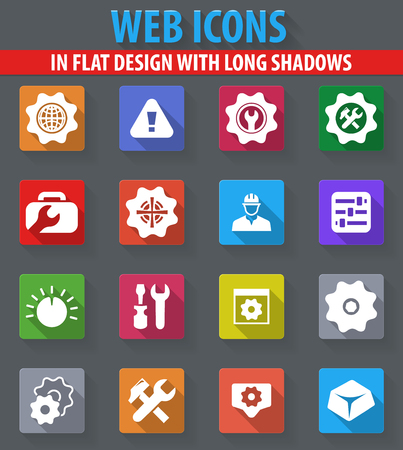 Setting web icons in flat design with long shadows