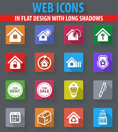 house for sale: Real estate web icons in flat design with long shadows