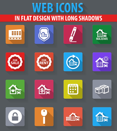 Real estate web icons in flat design with long shadows