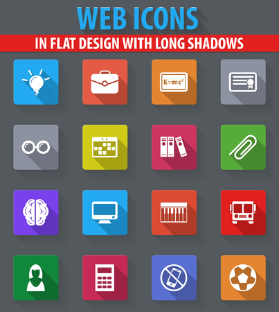 School web icons in flat design with long shadows Illustration