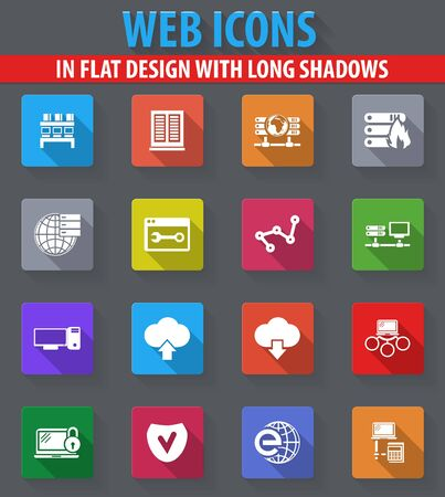Internet, server, network web icons in flat design with long shadows