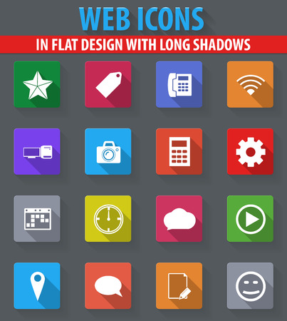 Social Media web icons in flat design with long shadows
