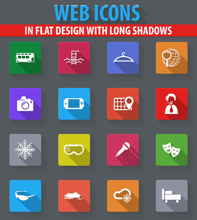 psp: Travel web icons in flat design with long shadows