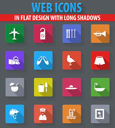 Travel web icons in flat design with long shadows