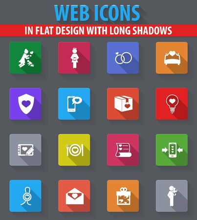 hands fire passion: Valentine day web icons in flat design with long shadows