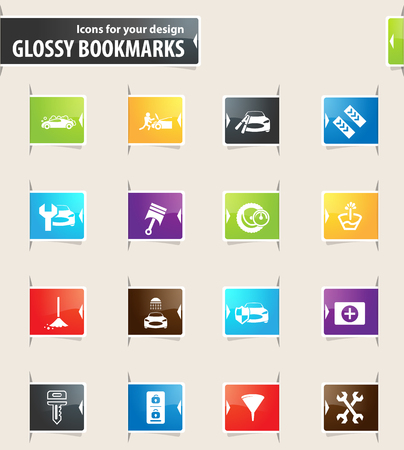 first aid kit key: Car shop vector glossy bookmarks for your design