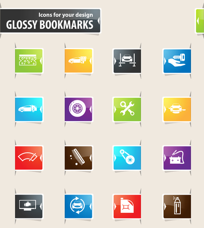 Car shop vector glossy bookmarks for your design