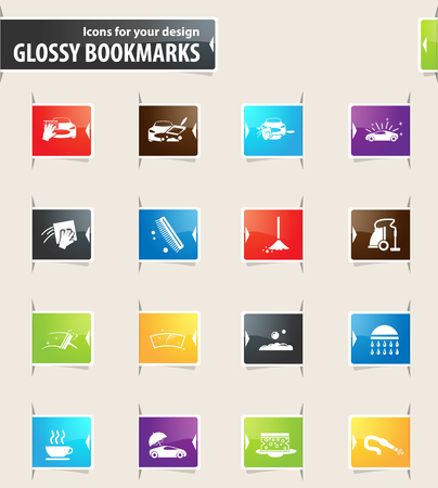 Car wash vector glossy bookmarks for your design