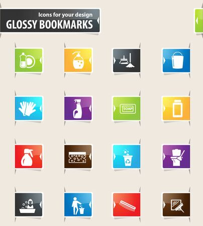 Cleaning company vector glossy bookmarks for your design