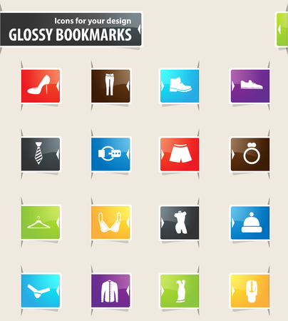 Clothing Store vector bookmark icons for your design