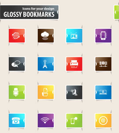 tv tower: Communication vector bookmark icons for your design
