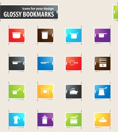 Dishes vector bookmark icons for your design