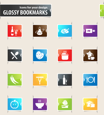 sectional: Food and kitchen vector bookmark icons for your design