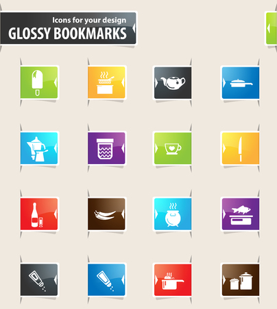 Food and kitchen vector bookmark icons for your design