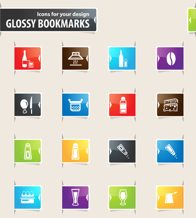 unexpected: Food and kitchen vector bookmark icons for your design