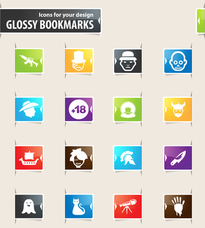 Set of movie genres icons for your design glossy bookmarks