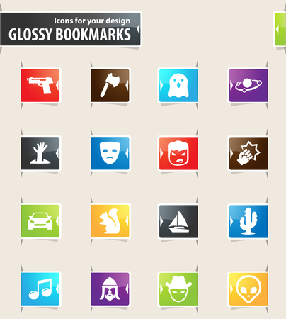 Set of movie genres icons for your design glossy bookmarks Vektorové ilustrace