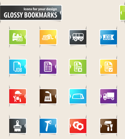 Job icons for your design glossy bookmarks Illustration