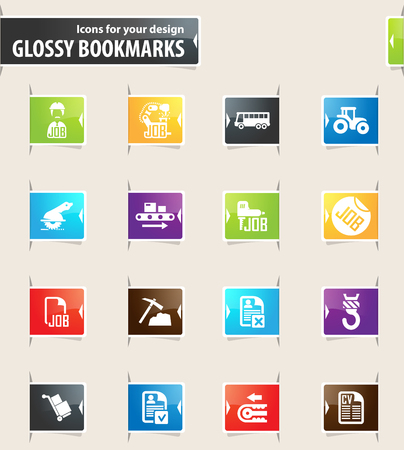 truck driver: Job icons for your design glossy bookmarks Illustration