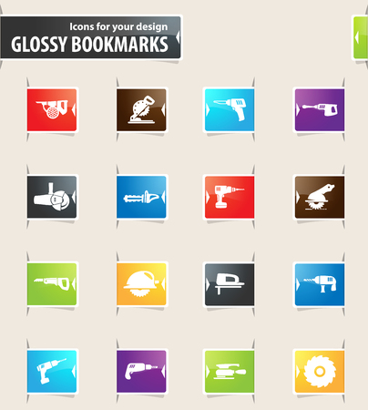 Power tools icons for your design glossy bookmarks Illustration