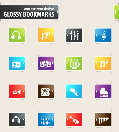 disk jockey: Music vector bookmark icons for your design Illustration
