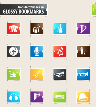 darbuka: Music icons for your design glossy bookmarks