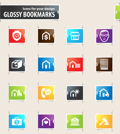 Real estate icons for your design glossy bookmarks