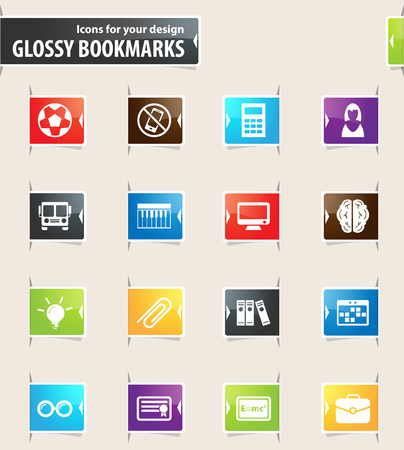 School vector bookmark icons for your design