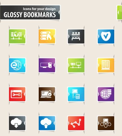 Internet server, network vector bookmark icons for your design
