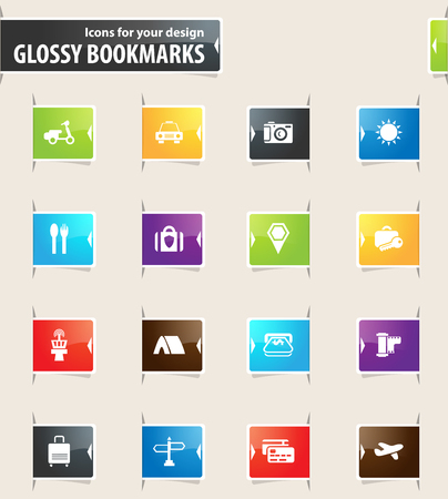 Travel vector bookmark icons for your design