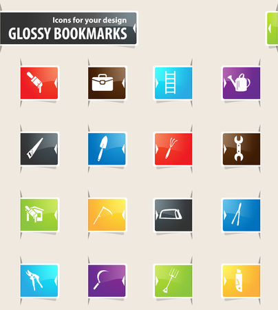 pruning shears: Work tools vector bookmark icons for your design