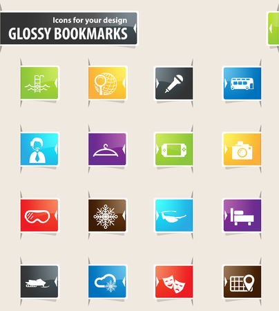 psp: Travel vector bookmark icons for your design