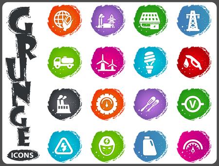 Le icone di energia alternativa hanno impostato per i siti Web e l'interfaccia utente nello stile del grunge