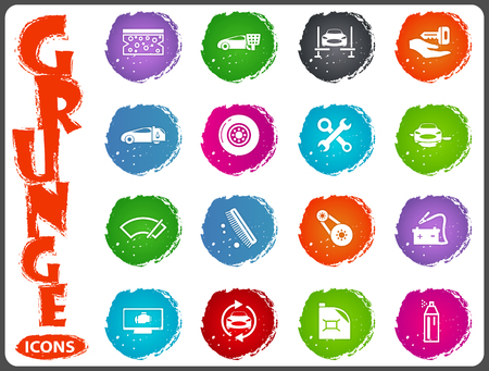 Car shop icon set for web sites and user interface in grunge style Illustration