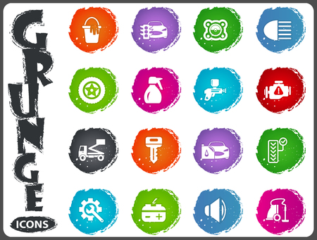 vulcanization: Car shop icon set for web sites and user interface in grunge style Illustration