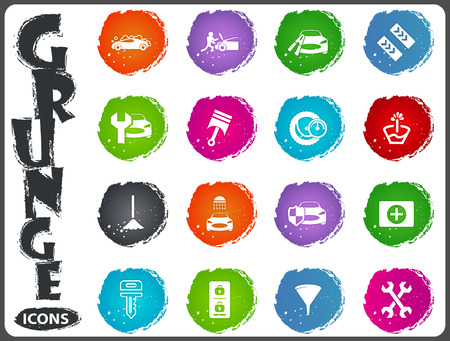 first aid kit key: Car shop icon set for web sites and user interface in grunge style Illustration