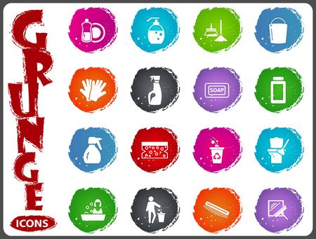 Icone di simbolo della società di pulizia per la progettazione dell'interfaccia utente