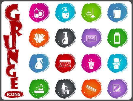 Cleaning company symbol icons for user interface design Illustration