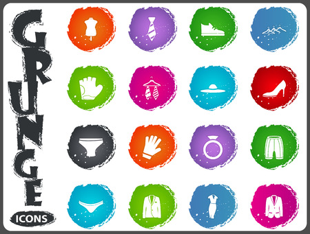 clothe: Clothes icon set for user interface design in grunge style Illustration
