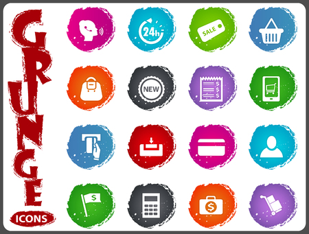 E-commerce icon set for web sites and user interface in grunge style